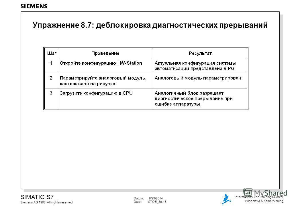 Datum: 9/29/2014 Datei:STOE_8d.16 SIMATIC S7 Siemens AG 1998. All rights reserved. Informations- und Trainings-Center Wissen for Automatisierung Упражнение 8.7: деблокировка диагностических прерываний