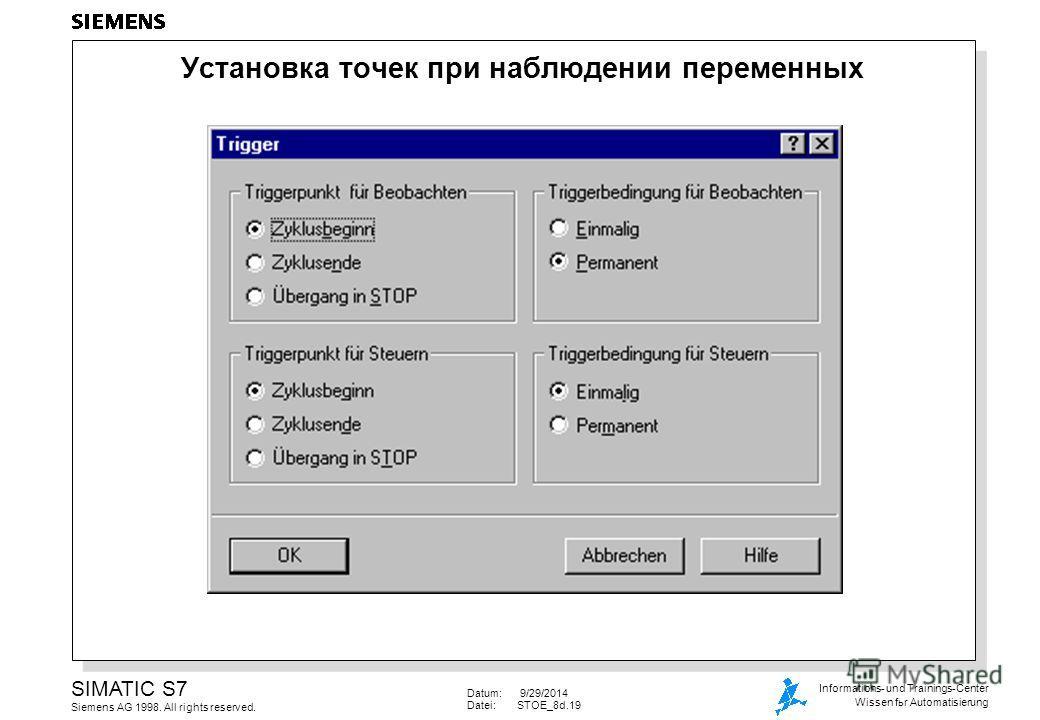 Datum: 9/29/2014 Datei:STOE_8d.19 SIMATIC S7 Siemens AG 1998. All rights reserved. Informations- und Trainings-Center Wissen for Automatisierung Установка точек при наблюдении переменных