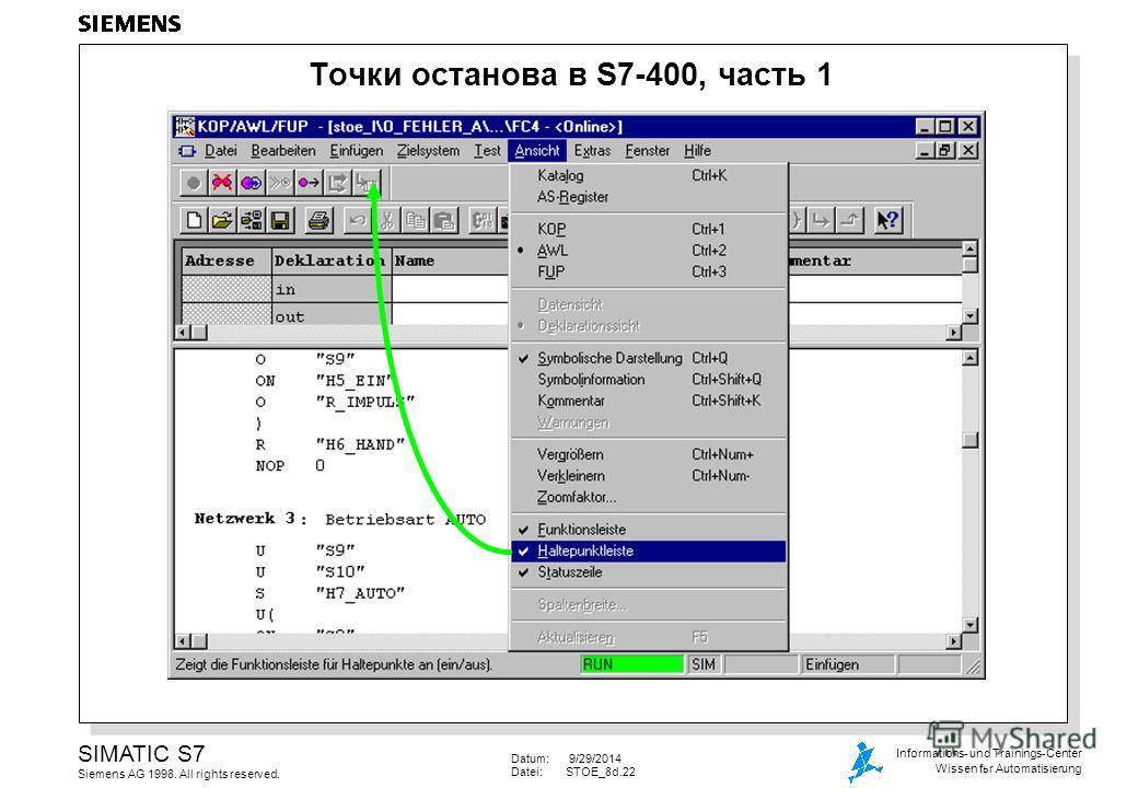 Datum: 9/29/2014 Datei:STOE_8d.22 SIMATIC S7 Siemens AG 1998. All rights reserved. Informations- und Trainings-Center Wissen for Automatisierung Точки останова в S7-400, часть 1