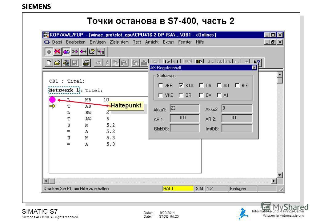 Datum: 9/29/2014 Datei:STOE_8d.23 SIMATIC S7 Siemens AG 1998. All rights reserved. Informations- und Trainings-Center Wissen for Automatisierung Точки останова в S7-400, часть 2 Haltepunkt