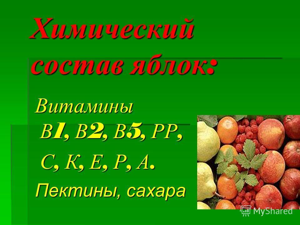 Химический состав яблок : Витамины В 1, В 2, В 5, РР, С, К, Е, Р, А. С, К, Е, Р, А. Пектины, сахара
