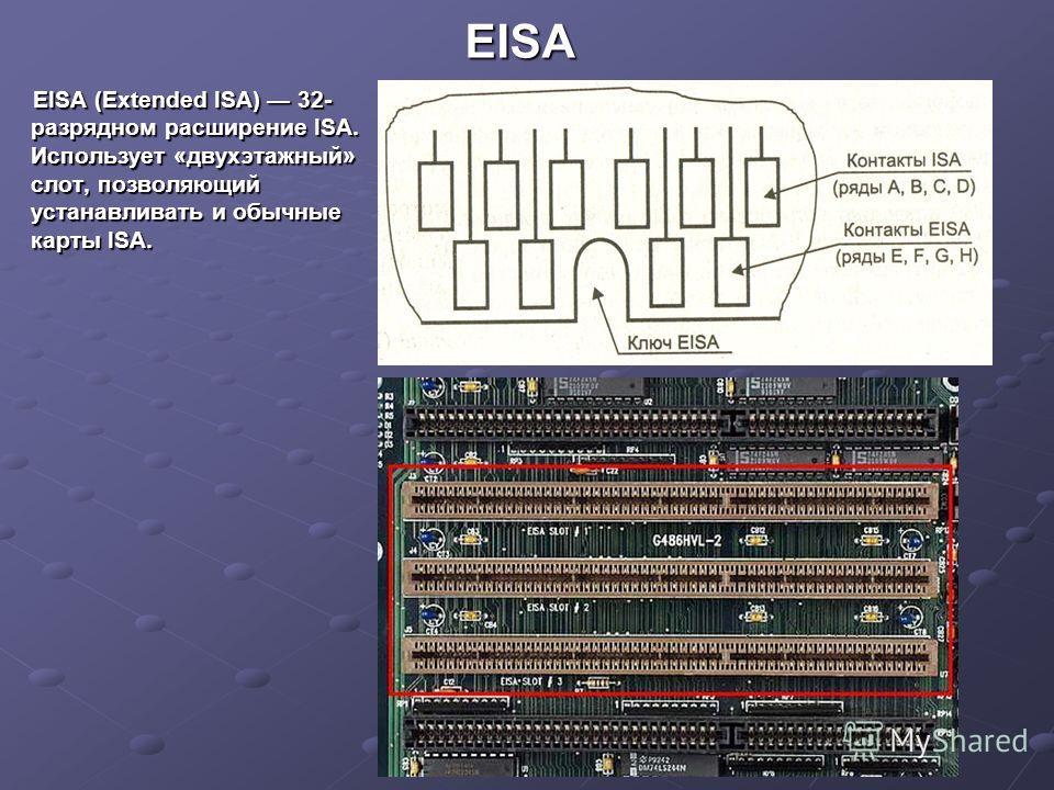 EISA EISA (Extended ISA) 32- разрядном расширение ISA. Использует «двухэтажный» слот, позволяющий устанавливать и обычные карты ISA.