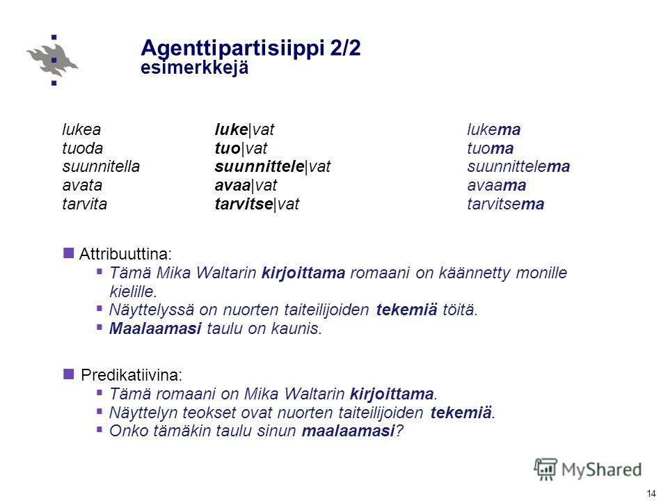 14 Agenttipartisiippi 2/2 esimerkkejä lukea tuoda suunnitella avata tarvita luke|vat tuo|vat suunnittele|vat avaa|vat tarvitse|vat lukema tuoma suunnittelema avaama tarvitsema Attribuuttina: Tämä Mika Waltarin kirjoittama romaani on käännetty monille