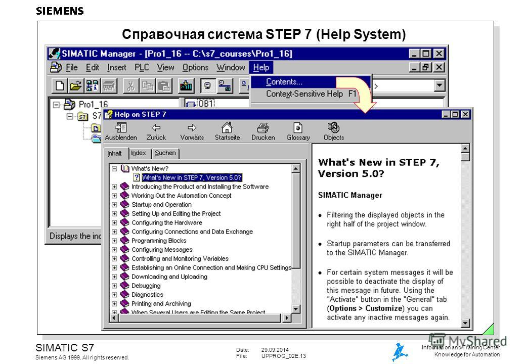 Date:29.09.2014 File:UPPROG_02E.13 SIMATIC S7 Siemens AG 1999. All rights reserved. Information and Training Center Knowledge for Automation Справочная система STEP 7 (Help System)