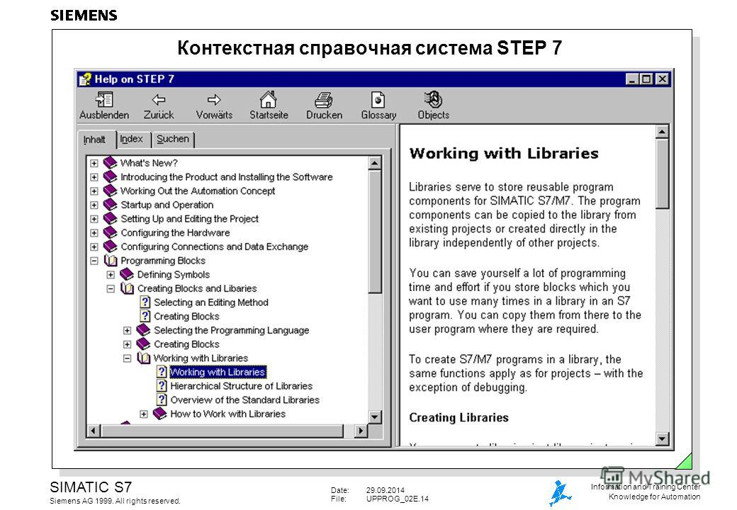 Date:29.09.2014 File:UPPROG_02E.14 SIMATIC S7 Siemens AG 1999. All rights reserved. Information and Training Center Knowledge for Automation Контекстная справочная система STEP 7