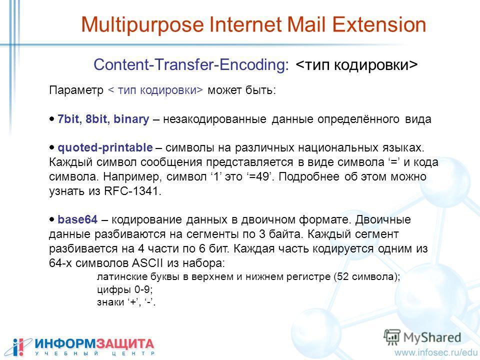 Multipurpose Internet Mail Extension Content-Transfer-Encoding: Параметр может быть: 7bit, 8bit, binary – незакодированные данные определённого вида quoted-printable – символы на различных национальных языках. Каждый символ сообщения представляется в