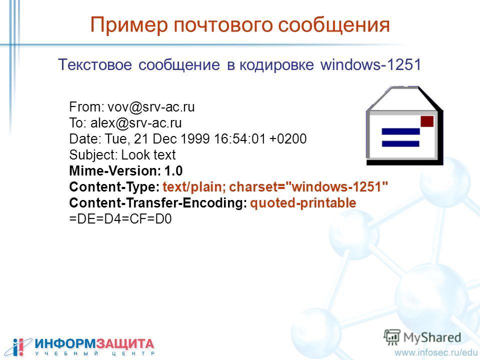 Пример почтового сообщения Текстовое сообщение в кодировке windows-1251 From: vov@srv-ac.ru To: alex@srv-ac.ru Date: Tue, 21 Dec 1999 16:54:01 +0200 Subject: Look text Mime-Version: 1.0 Content-Type: text/plain; charset=