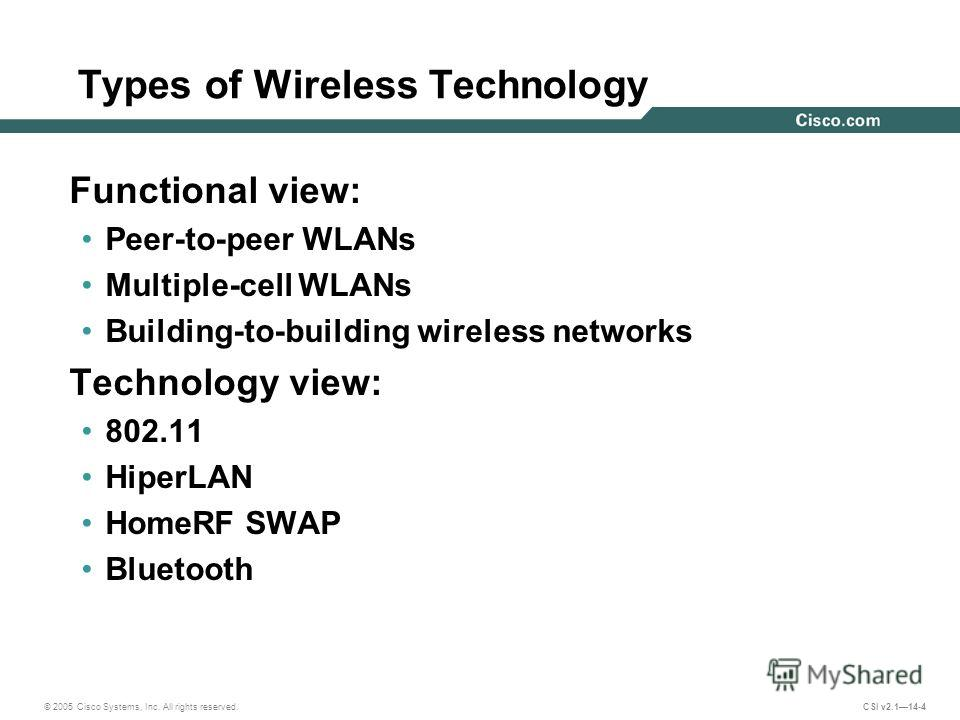 © 2005 Cisco Systems, Inc. All rights reserved. CSI v2.114-4 Types of Wireless Technology Functional view: Peer-to-peer WLANs Multiple-cell WLANs Building-to-building wireless networks Technology view: 802.11 HiperLAN HomeRF SWAP Bluetooth