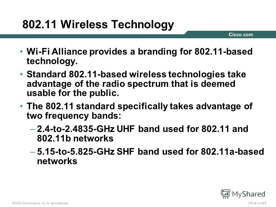 © 2005 Cisco Systems, Inc. All rights reserved. CSI v2.114-5 802.11 Wireless Technology Wi-Fi Alliance provides a branding for 802.11-based technology. Standard 802.11-based wireless technologies take advantage of the radio spectrum that is deemed us