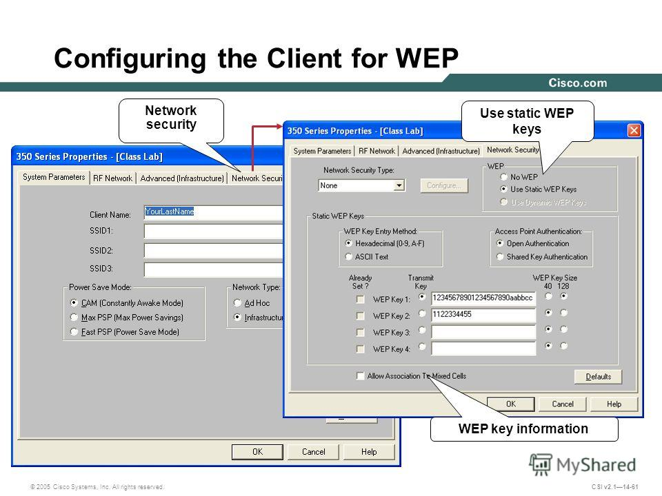 © 2005 Cisco Systems, Inc. All rights reserved. CSI v2.114-61 Configuring the Client for WEP Network security WEP key information Use static WEP keys