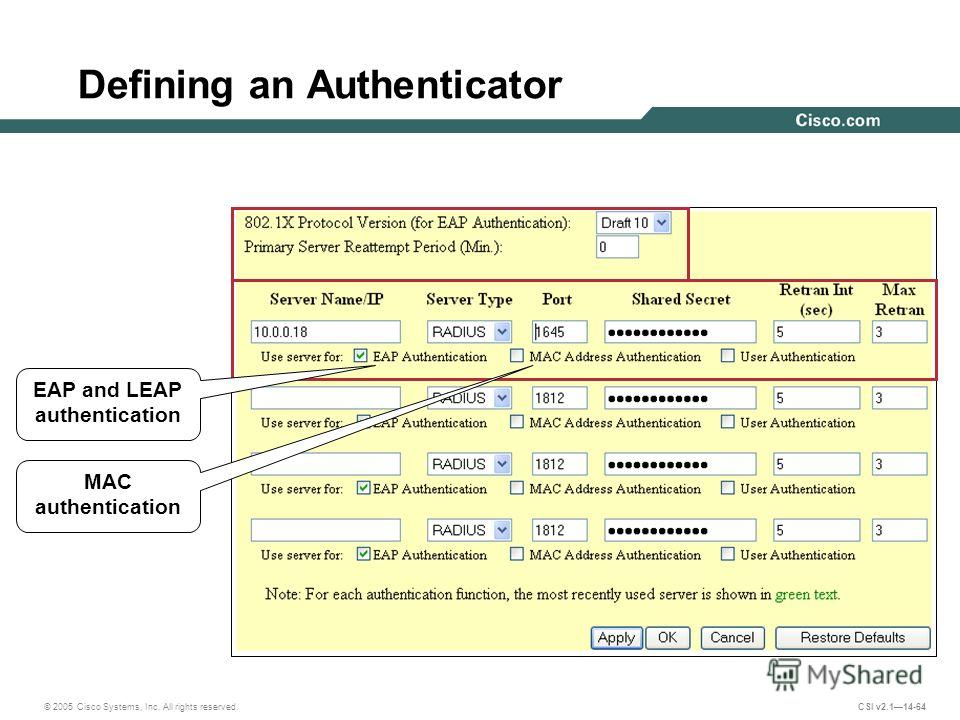 © 2005 Cisco Systems, Inc. All rights reserved. CSI v2.114-64 Defining an Authenticator EAP and LEAP authentication MAC authentication
