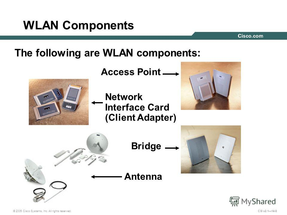 © 2005 Cisco Systems, Inc. All rights reserved. CSI v2.114-8 WLAN Components The following are WLAN components: Access Point Bridge Antenna Network Interface Card (Client Adapter)