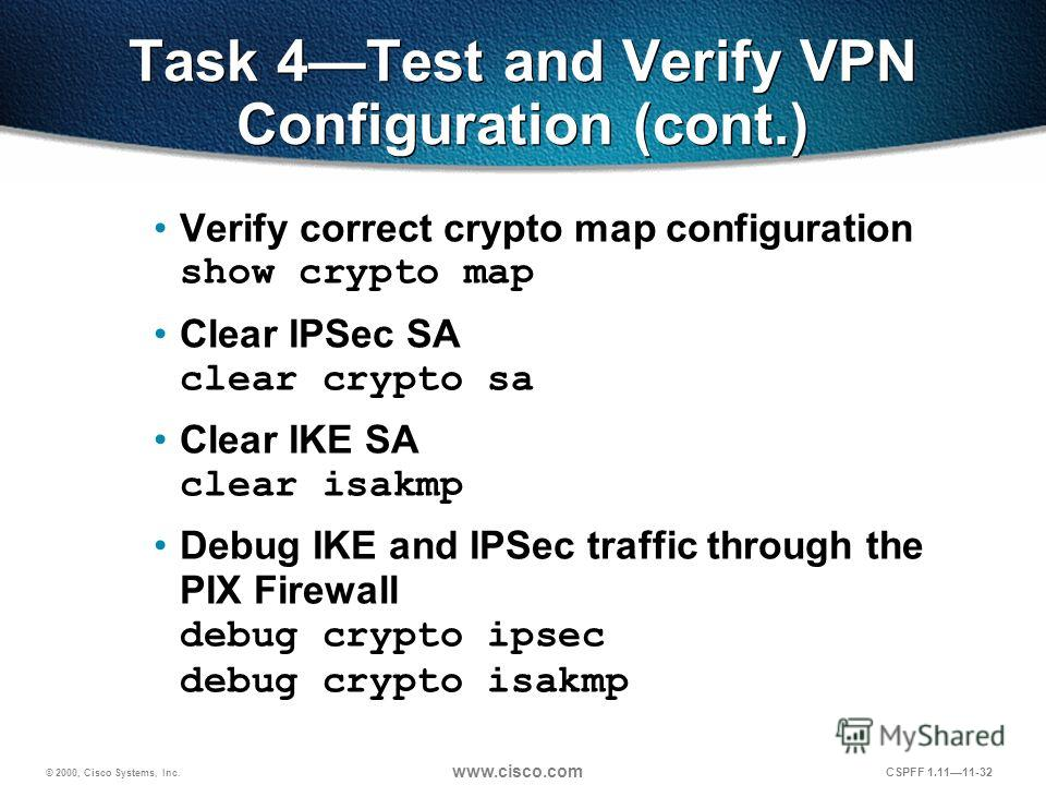 © 2000, Cisco Systems, Inc. www.cisco.com CSPFF 1.1111-32 Task 4Test and Verify VPN Configuration (cont.) Verify correct crypto map configuration show crypto map Clear IPSec SA clear crypto sa Clear IKE SA clear isakmp Debug IKE and IPSec traffic thr