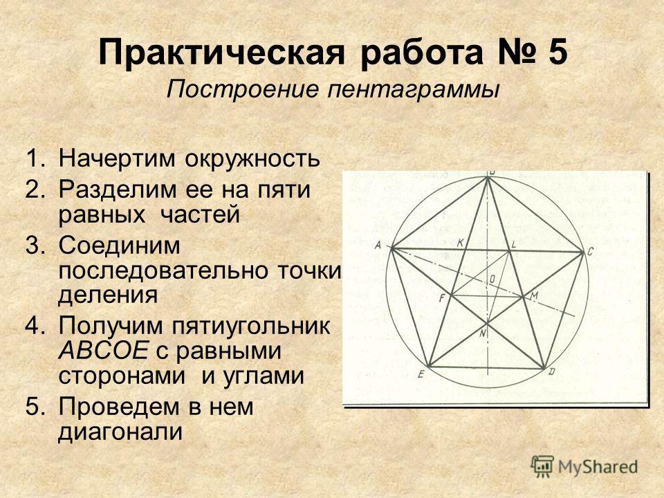 Практическая работа 5 Построение пентаграммы 1. Начертим окружность 2. Разделим ее на пяти равных частей 3. Соединим последовательно точки деления 4. Получим пятиугольник АВСОЕ с равными сторонами и углами 5. Проведем в нем диагонали