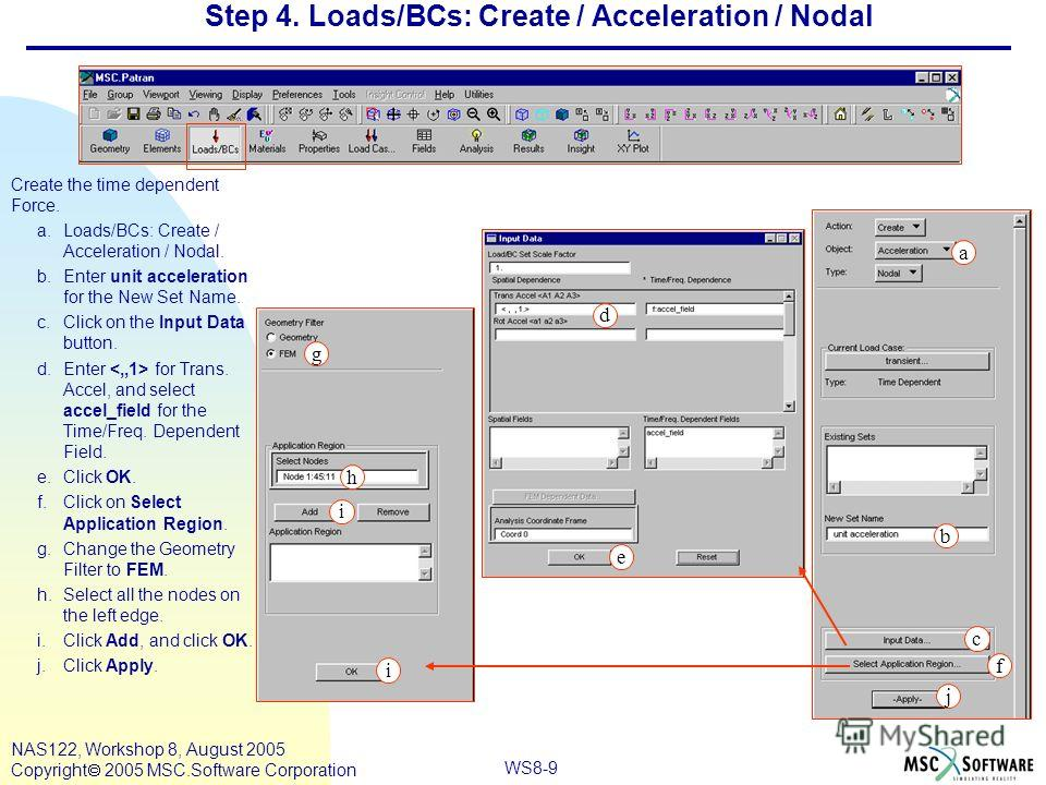 WS8-9 NAS122, Workshop 8, August 2005 Copyright 2005 MSC.Software Corporation Step 4. Loads/BCs: Create / Acceleration / Nodal Create the time dependent Force. a.Loads/BCs: Create / Acceleration / Nodal. b.Enter unit acceleration for the New Set Name