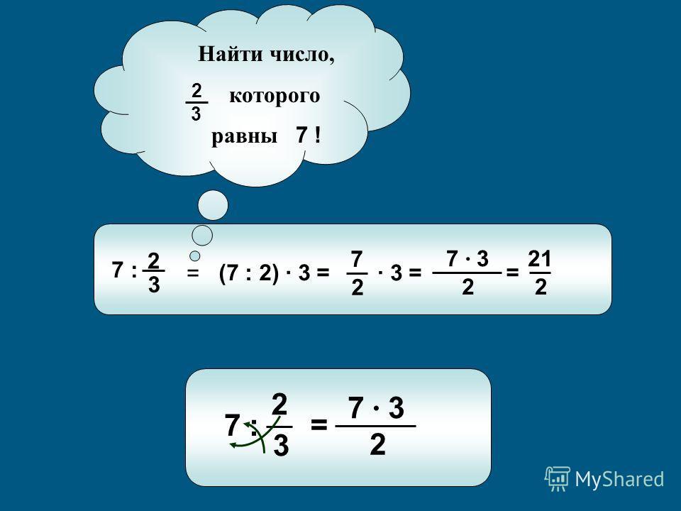 7 : 3 2 (7 : 2) · 3 = 2 7 · 3 = 2 7 · 3 = 2 21 Найти число, которого равны 7 ! 3 2 = 7 : 3 2 = 2 7 · 3