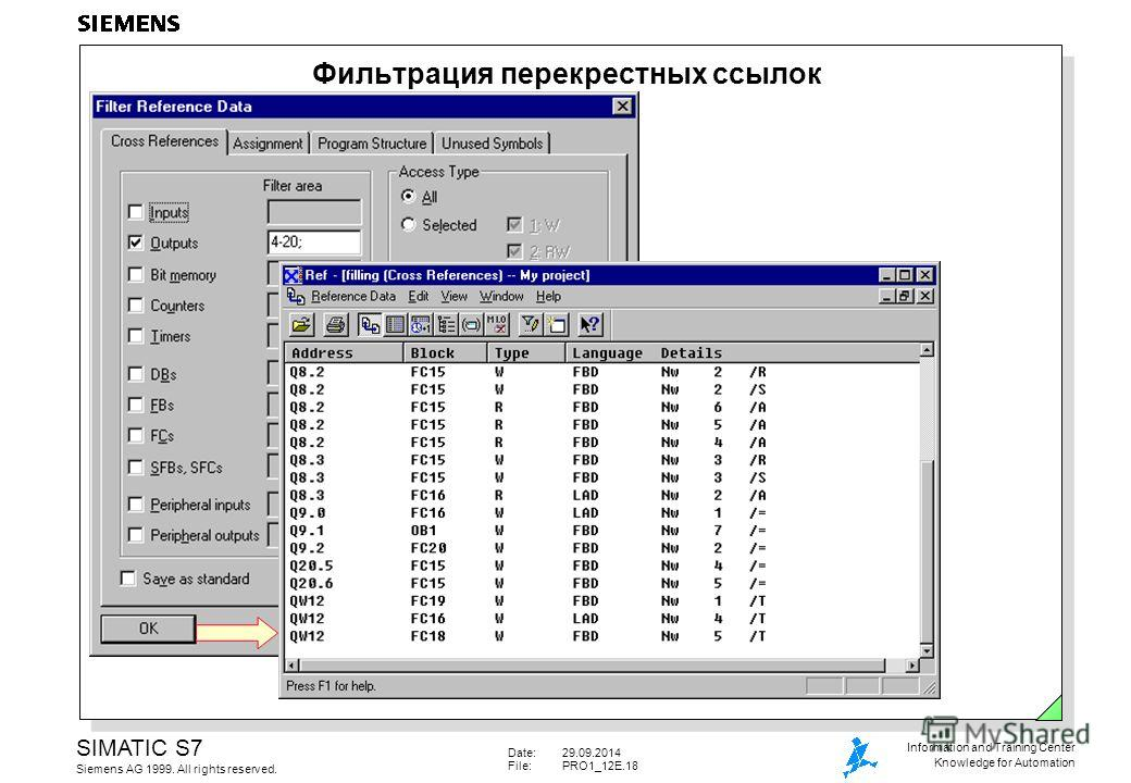 Date:29.09.2014 File:PRO1_12E.18 SIMATIC S7 Siemens AG 1999. All rights reserved. Information and Training Center Knowledge for Automation Фильтрация перекрестных ссылок