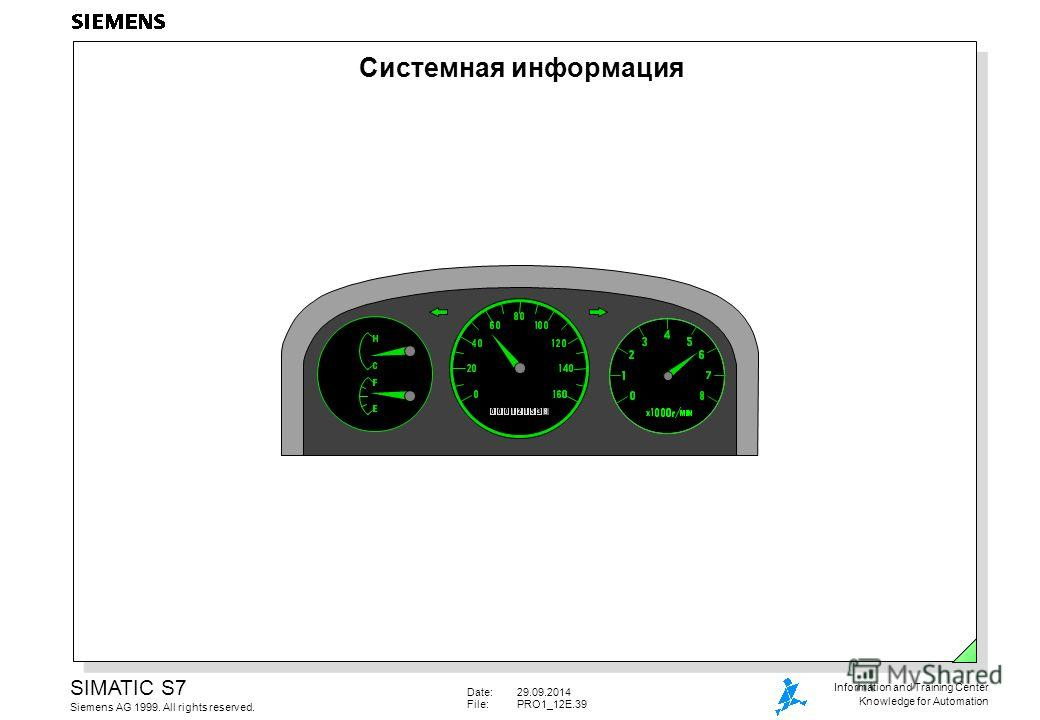 Date:29.09.2014 File:PRO1_12E.39 SIMATIC S7 Siemens AG 1999. All rights reserved. Information and Training Center Knowledge for Automation Системная информация