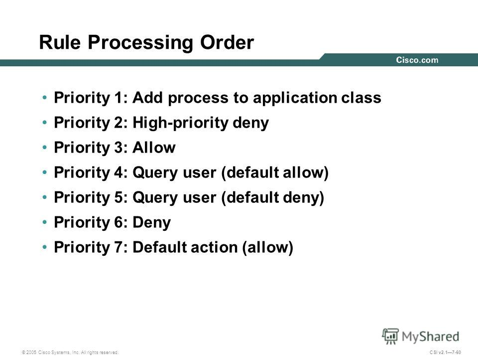 © 2005 Cisco Systems, Inc. All rights reserved. CSI v2.17-60 Rule Processing Order Priority 1: Add process to application class Priority 2: High-priority deny Priority 3: Allow Priority 4: Query user (default allow) Priority 5: Query user (default de