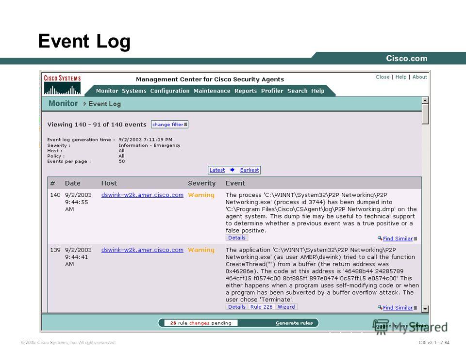 © 2005 Cisco Systems, Inc. All rights reserved. CSI v2.17-64 Event Log