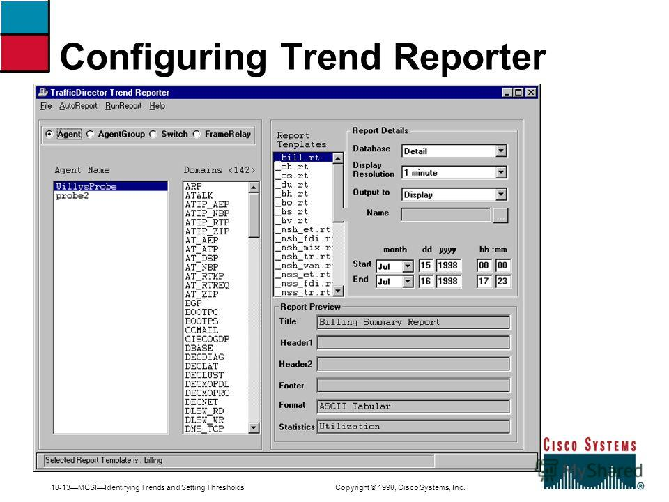 18-13MCSIIdentifying Trends and Setting Thresholds Copyright © 1998, Cisco Systems, Inc. Configuring Trend Reporter