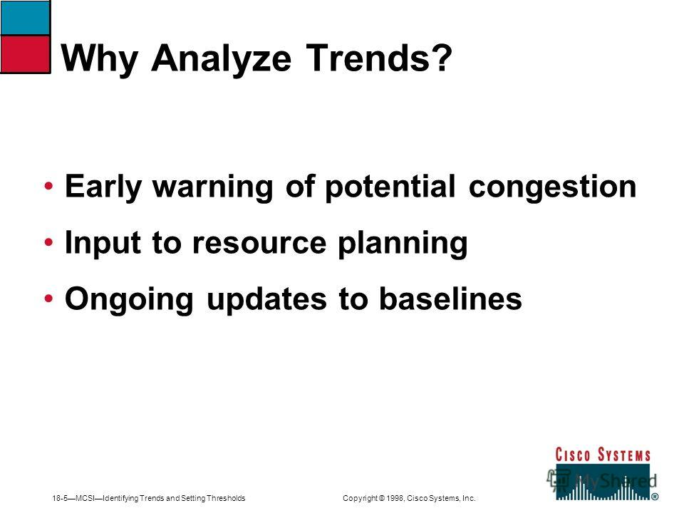 18-5MCSIIdentifying Trends and Setting Thresholds Copyright © 1998, Cisco Systems, Inc. Early warning of potential congestion Input to resource planning Ongoing updates to baselines Why Analyze Trends?