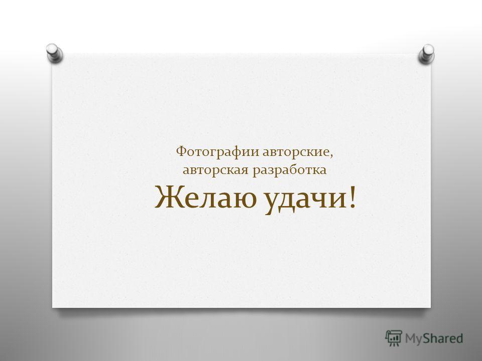 Фотографии авторские, авторская разработка Желаю удачи!
