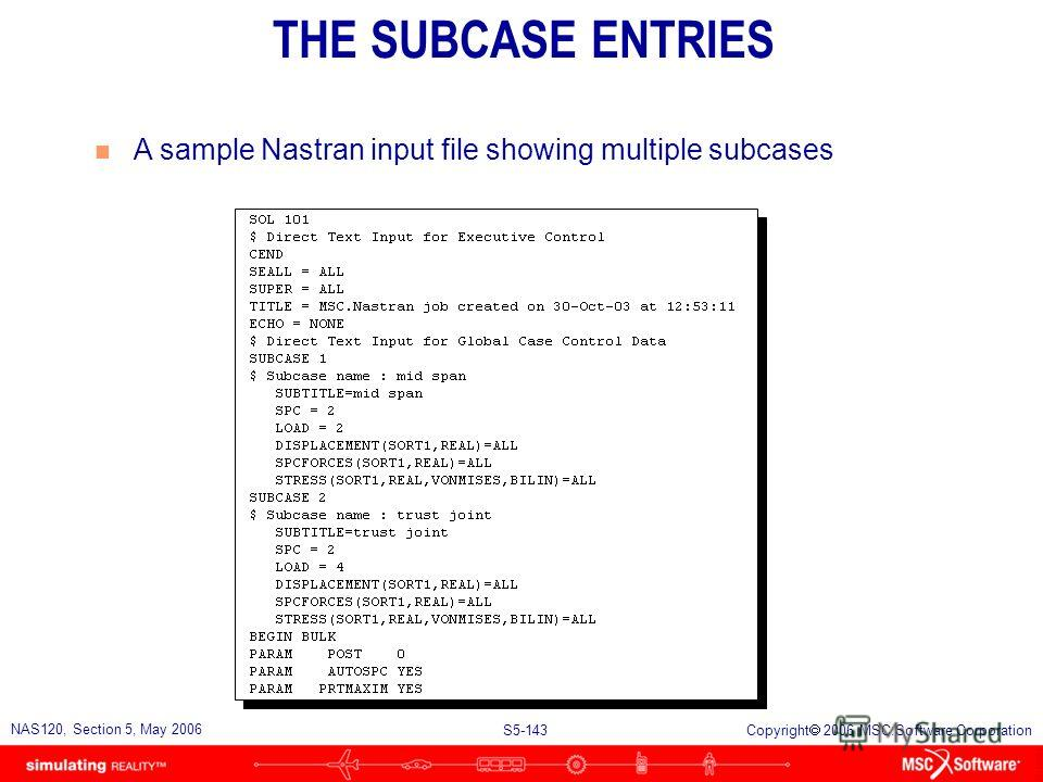 S5-142 NAS120, Section 5, May 2006 Copyright 2006 MSC.Software Corporation SELECTING THE SUBCASE