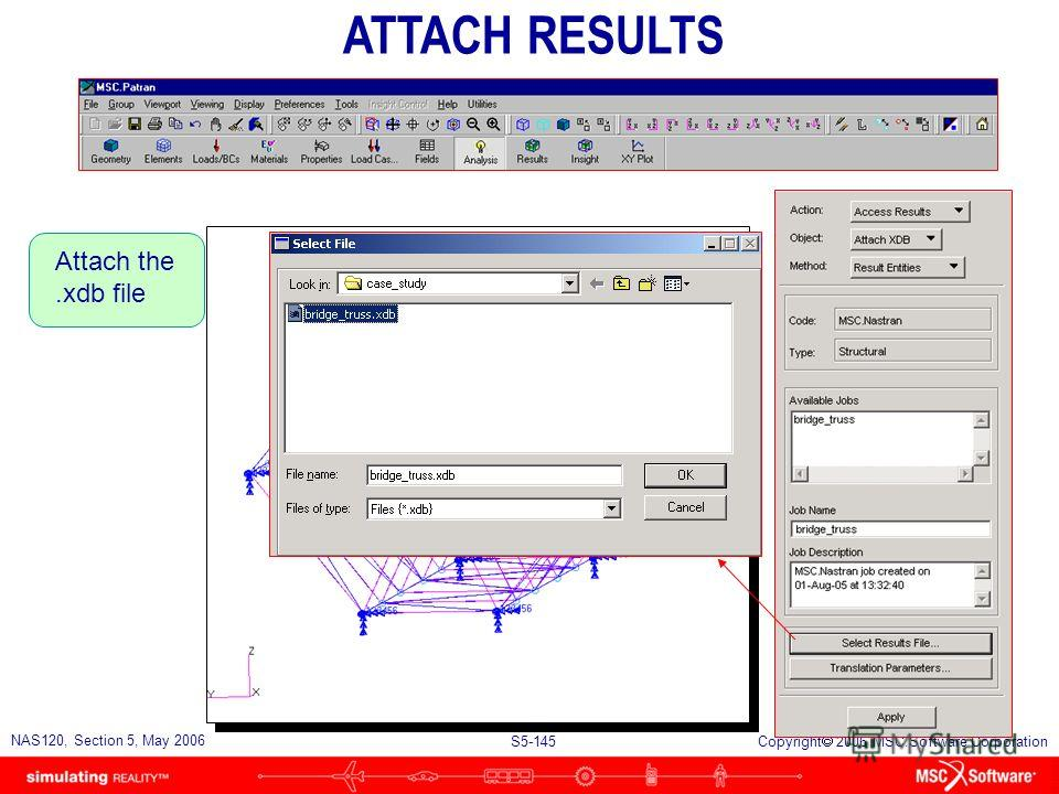 S5-144 NAS120, Section 5, May 2006 Copyright 2006 MSC.Software Corporation Perform linear static analysis PERFORM ANALYSIS