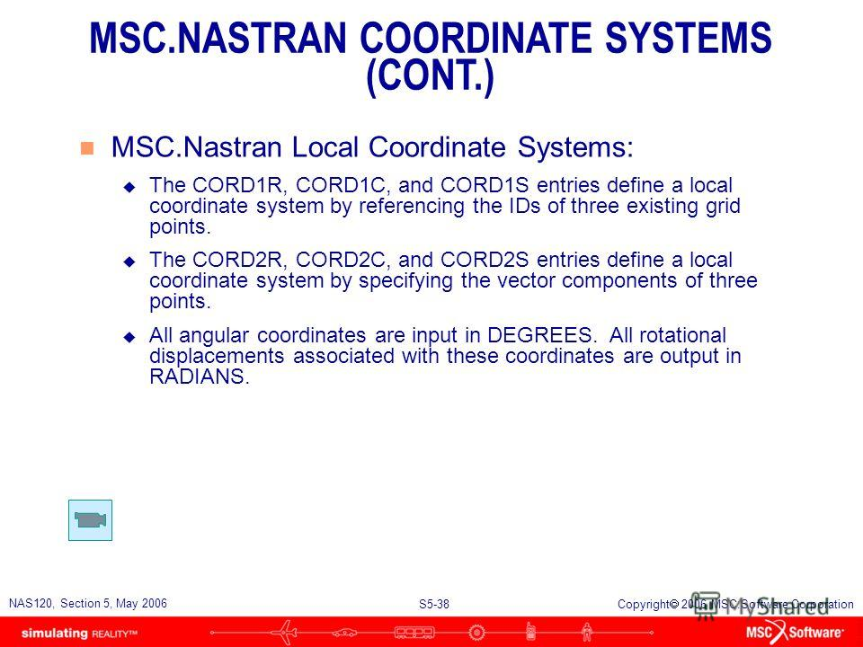 S5-37 NAS120, Section 5, May 2006 Copyright 2006 MSC.Software Corporation n MSC.Nastran Coordinate systems are used to u Define locations of grid points in space u Orient each grid points displacement vector n Coordinate systems in MSC.Nastran: u Bas