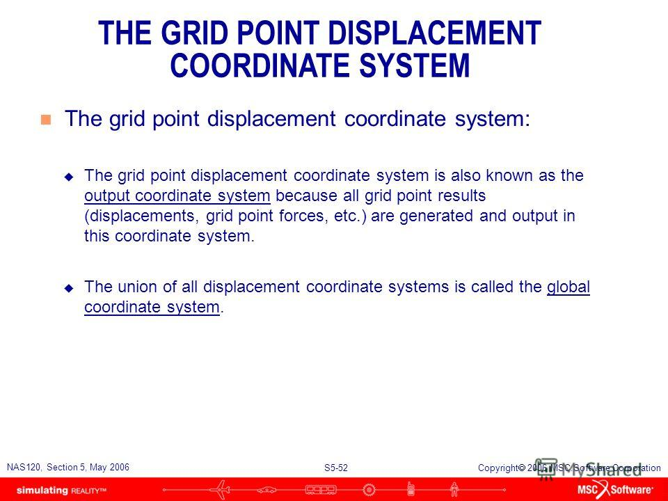 S5-51 NAS120, Section 5, May 2006 Copyright 2006 MSC.Software Corporation n Each GRID entry refers to two coordinate systems u The coordinate system in field 3 is used to locate the grid point. This is called the positional coordinate system. u The c