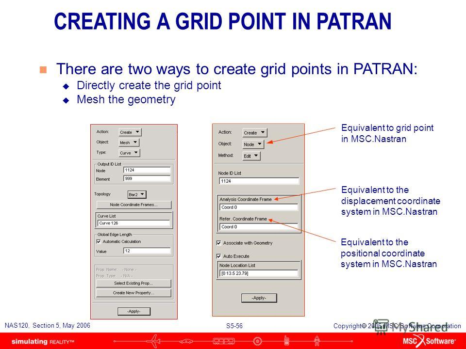 S5-55 NAS120, Section 5, May 2006 Copyright 2006 MSC.Software Corporation n Examples of how the grid point displacement coordinate system is used CONSTRAINTS SPRINGS RIGID ELEMENTS CLEARANCE USING THE GRID POINT DISPLACEMENT COORDINATE SYSTEM