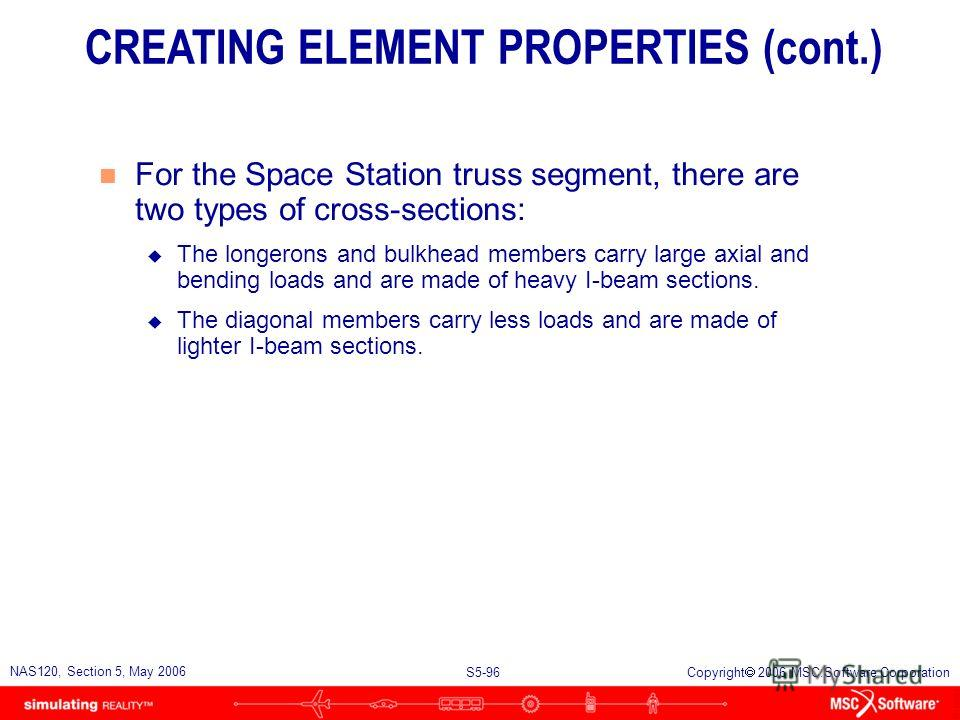 S5-95 NAS120, Section 5, May 2006 Copyright 2006 MSC.Software Corporation CBAR CBEND CBEAM Create properties for the CBAR element CREATING ELEMENT PROPERTIES