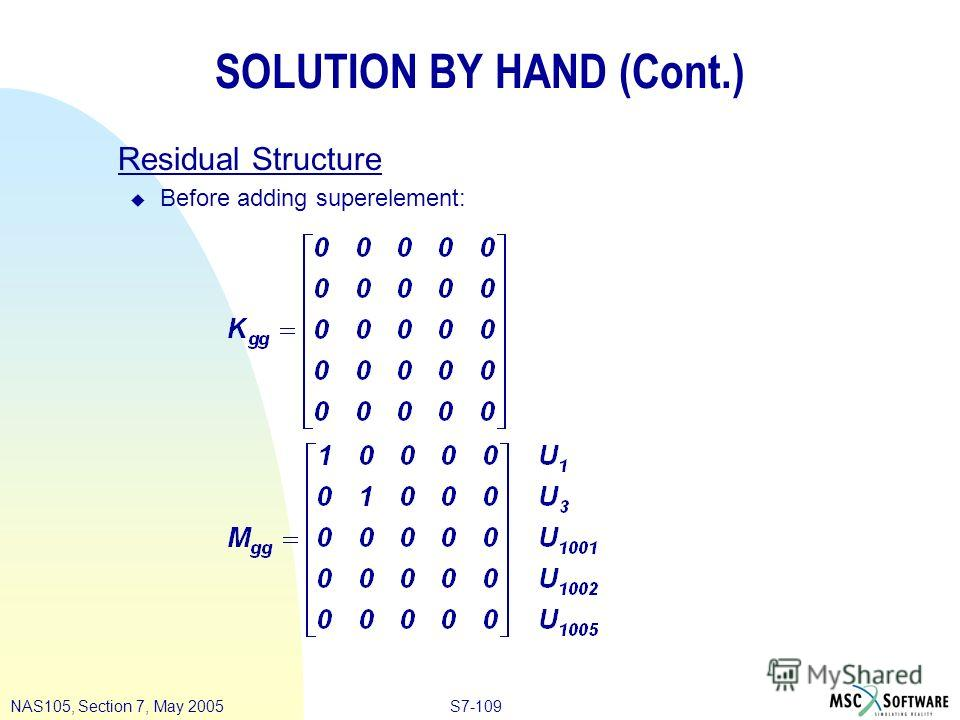 S7-109NAS105, Section 7, May 2005 SOLUTION BY HAND (Cont.) Residual Structure u Before adding superelement: