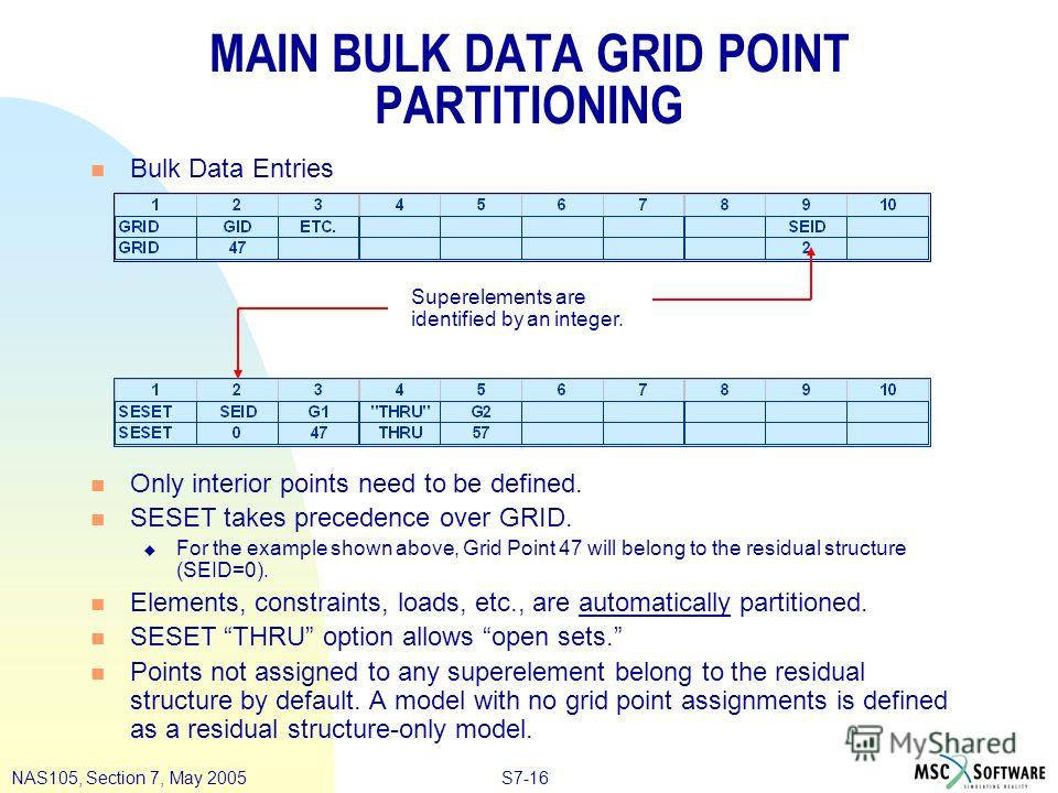 S7-16NAS105, Section 7, May 2005 MAIN BULK DATA GRID POINT PARTITIONING n Bulk Data Entries n Only interior points need to be defined. n SESET takes precedence over GRID. u For the example shown above, Grid Point 47 will belong to the residual struct