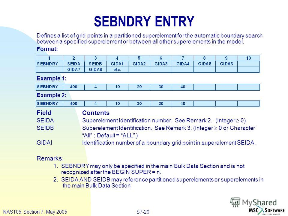 S7-20NAS105, Section 7, May 2005 SEBNDRY ENTRY Defines a list of grid points in a partitioned superelement for the automatic boundary search between a specified superelement or between all other superelements in the model. Format: Example 1: Example