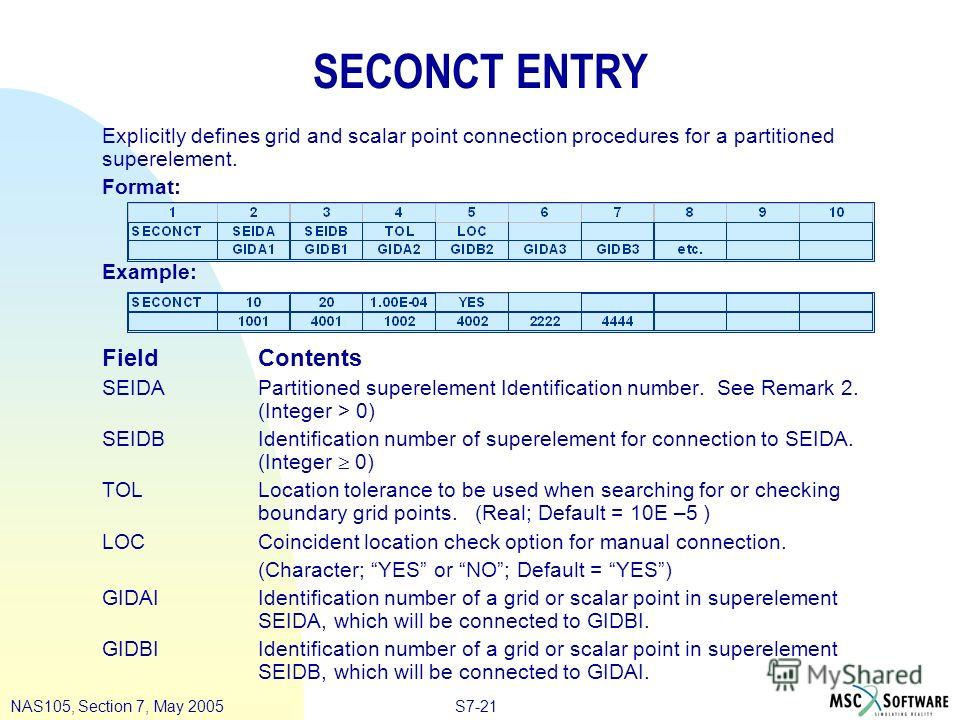 S7-21NAS105, Section 7, May 2005 SECONCT ENTRY Explicitly defines grid and scalar point connection procedures for a partitioned superelement. Format: Example: FieldContents SEIDAPartitioned superelement Identification number. See Remark 2. (Integer >