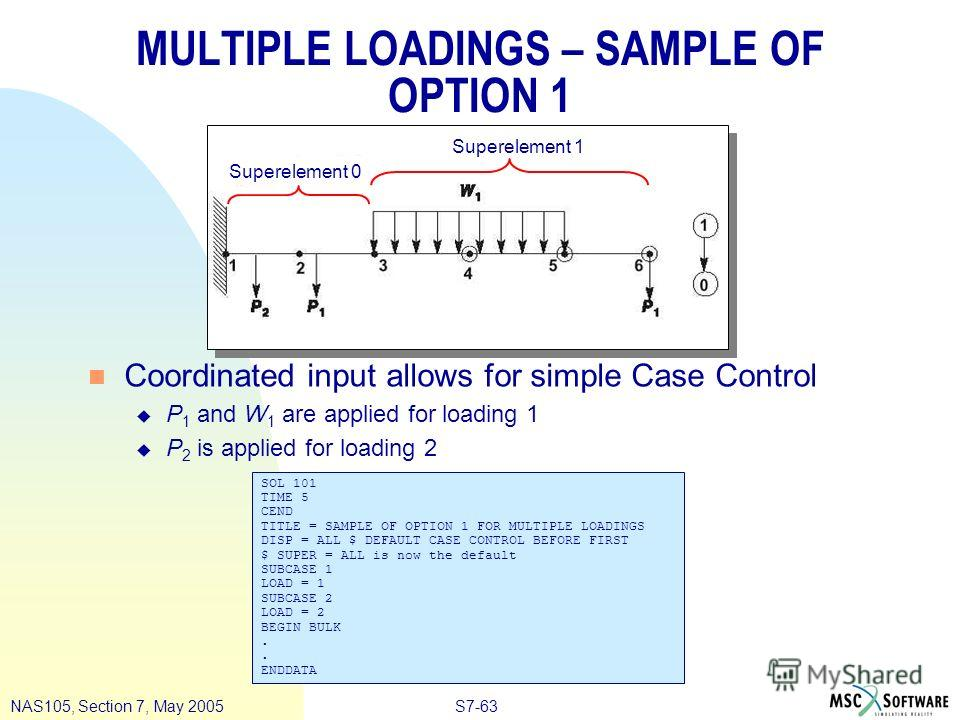S7-63NAS105, Section 7, May 2005 MULTIPLE LOADINGS – SAMPLE OF OPTION 1 n Coordinated input allows for simple Case Control u P 1 and W 1 are applied for loading 1 u P 2 is applied for loading 2 SOL 101 TIME 5 CEND TITLE = SAMPLE OF OPTION 1 FOR MULTI