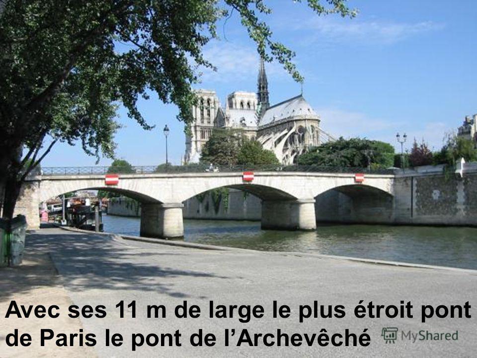 Avec ses 11 m de large le plus étroit pont de Paris le pont de lArchevêché