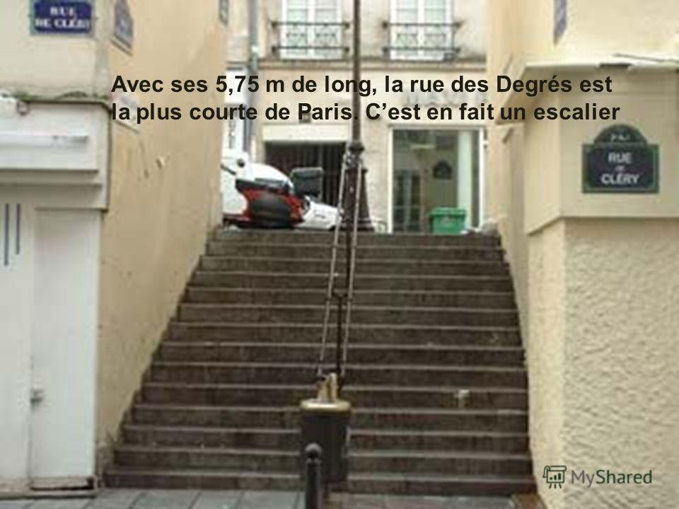 Avec ses 5,75 m de long, la rue des Degrés est la plus courte de Paris. Cest en fait un escalier