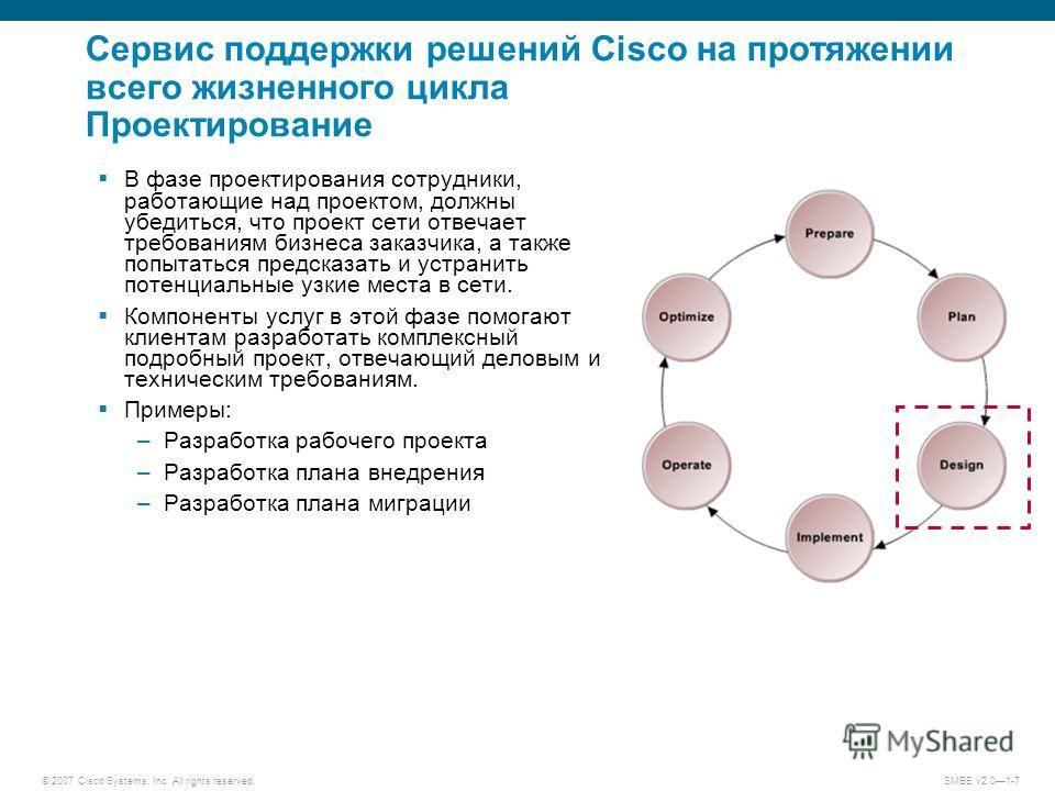 © 2007 Cisco Systems, Inc. All rights reserved. SMBE v2.01-7 Сервис поддержки решений Cisco на протяжении всего жизненного цикла Проектирование В фазе проектирования сотрудники, работающие над проектом, должны убедиться, что проект сети отвечает треб