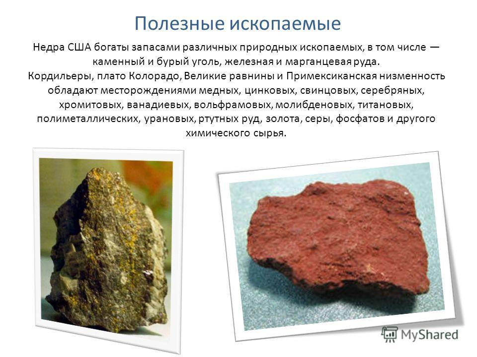 Полезные ископаемые Недра США богаты запасами различных природных ископаемых, в том числе каменный и бурый уголь, железная и марганцевая руда. Кордильеры, плато Колорадо, Великие равнины и Примексиканская низменность обладают месторождениями медных,
