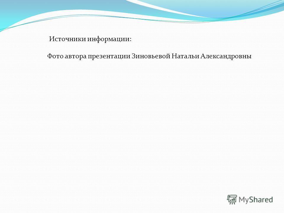 Источники информации: Фото автора презентации Зиновьевой Натальи Александровны