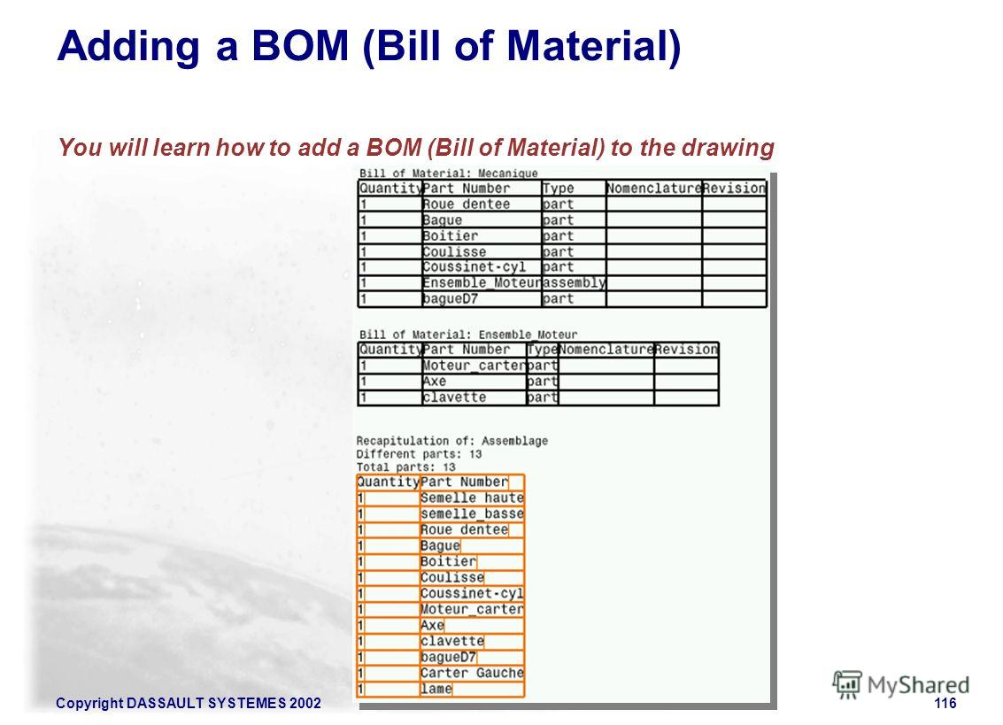 Copyright DASSAULT SYSTEMES 2002116 Adding a BOM (Bill of Material) You will learn how to add a BOM (Bill of Material) to the drawing