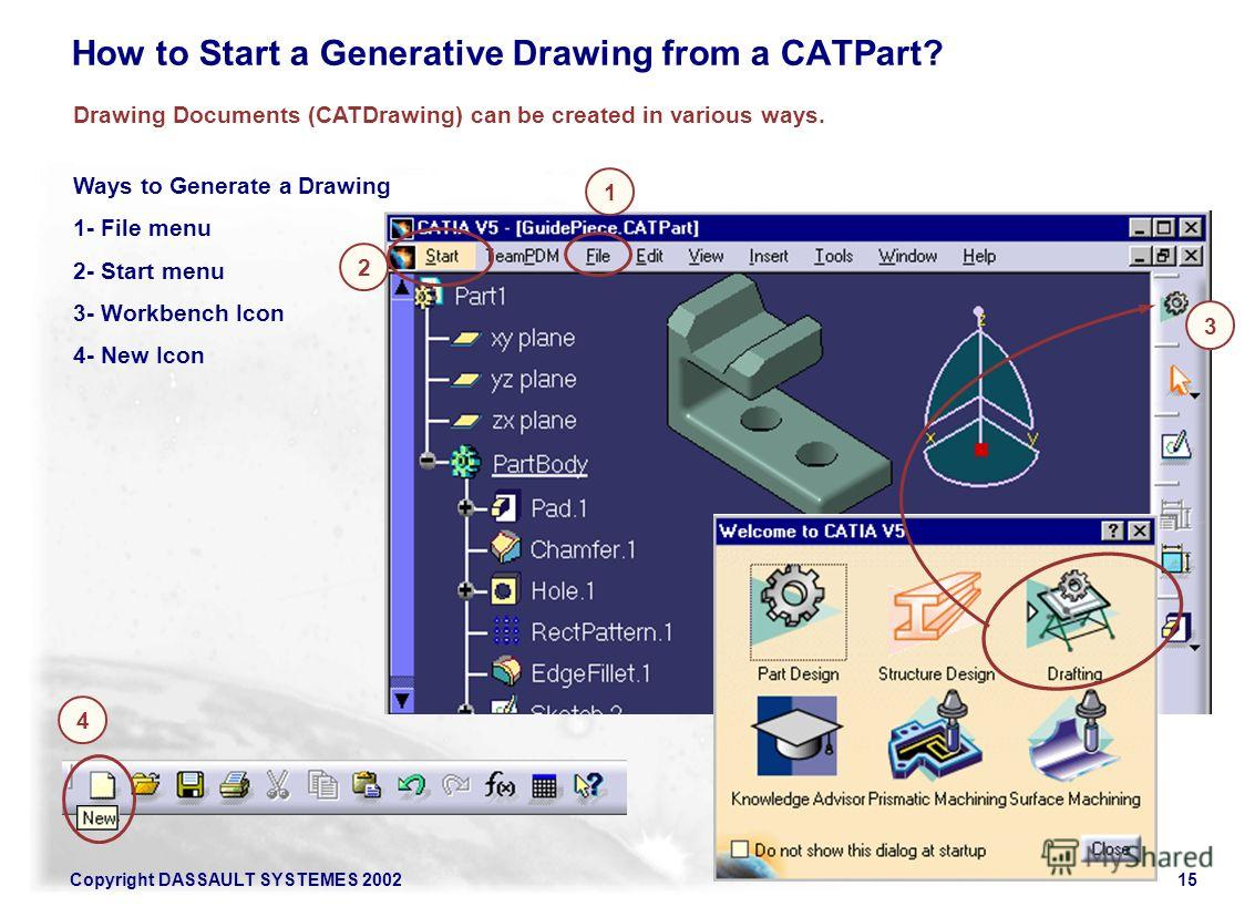 Copyright DASSAULT SYSTEMES 200215 Ways to Generate a Drawing 1- File menu 2- Start menu 3- Workbench Icon 4- New Icon Drawing Documents (CATDrawing) can be created in various ways. 2 1 4 3 How to Start a Generative Drawing from a CATPart?