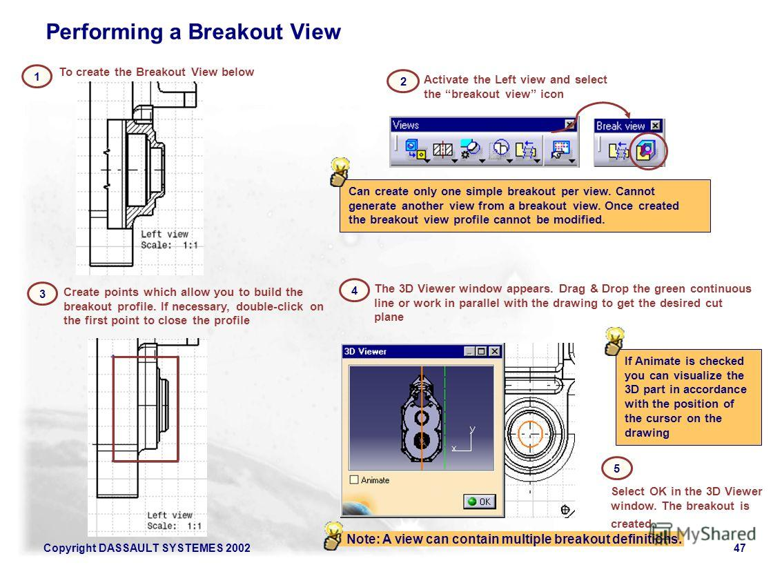 Copyright DASSAULT SYSTEMES 200247 To create the Breakout View below 1 If Animate is checked you can visualize the 3D part in accordance with the position of the cursor on the drawing Activate the Left view and select the breakout view icon 2 The 3D
