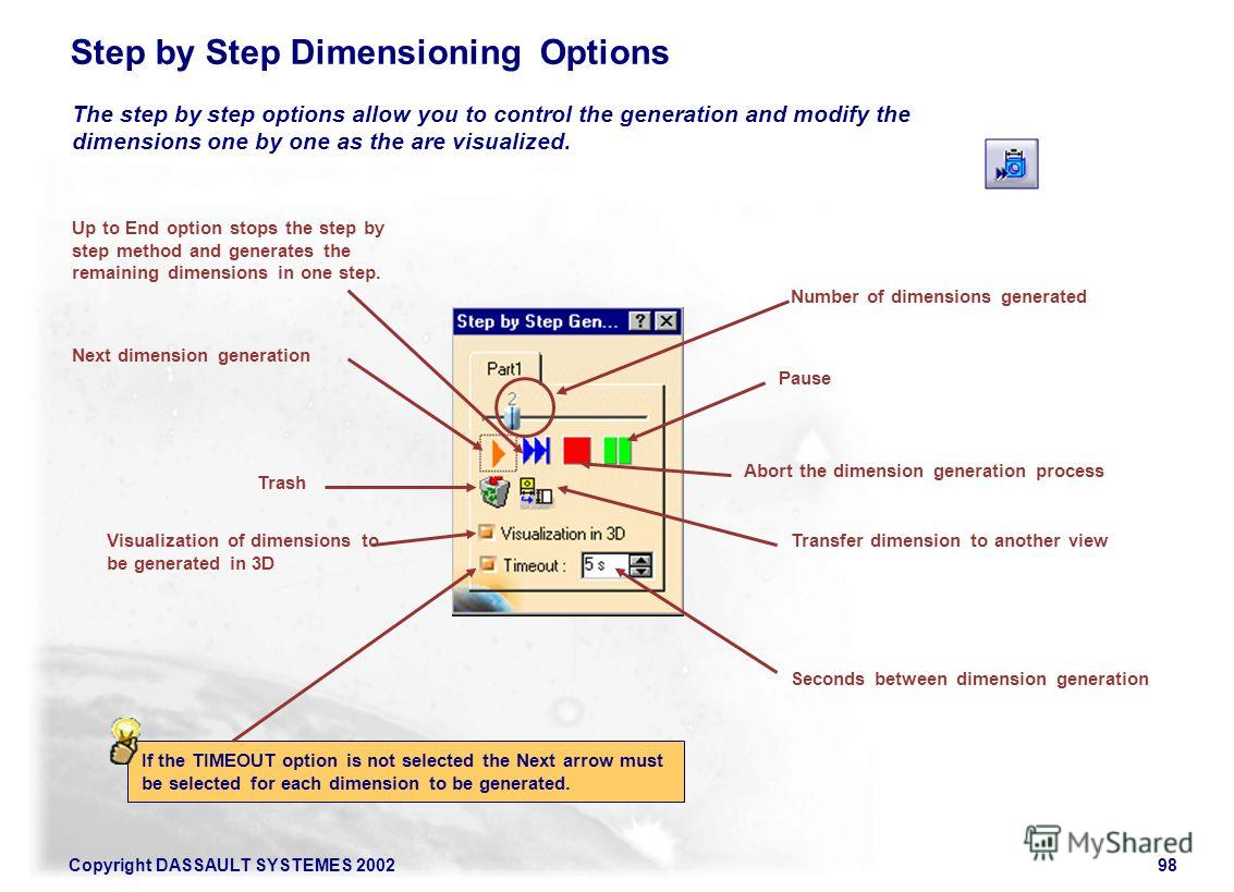 Copyright DASSAULT SYSTEMES 200298 Step by Step Dimensioning Options Pause Transfer dimension to another view If the TIMEOUT option is not selected the Next arrow must be selected for each dimension to be generated. The step by step options allow you