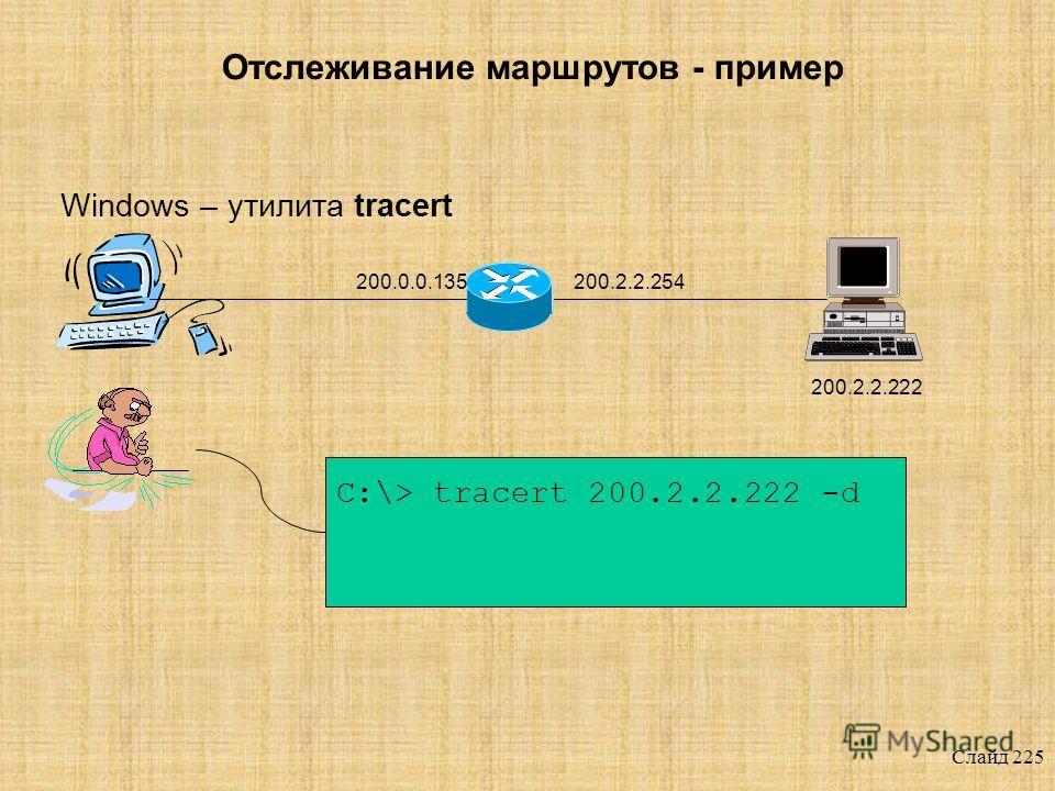 Слайд 224 Отслеживание маршрутов ? Протокол ICMP Протокол UDP