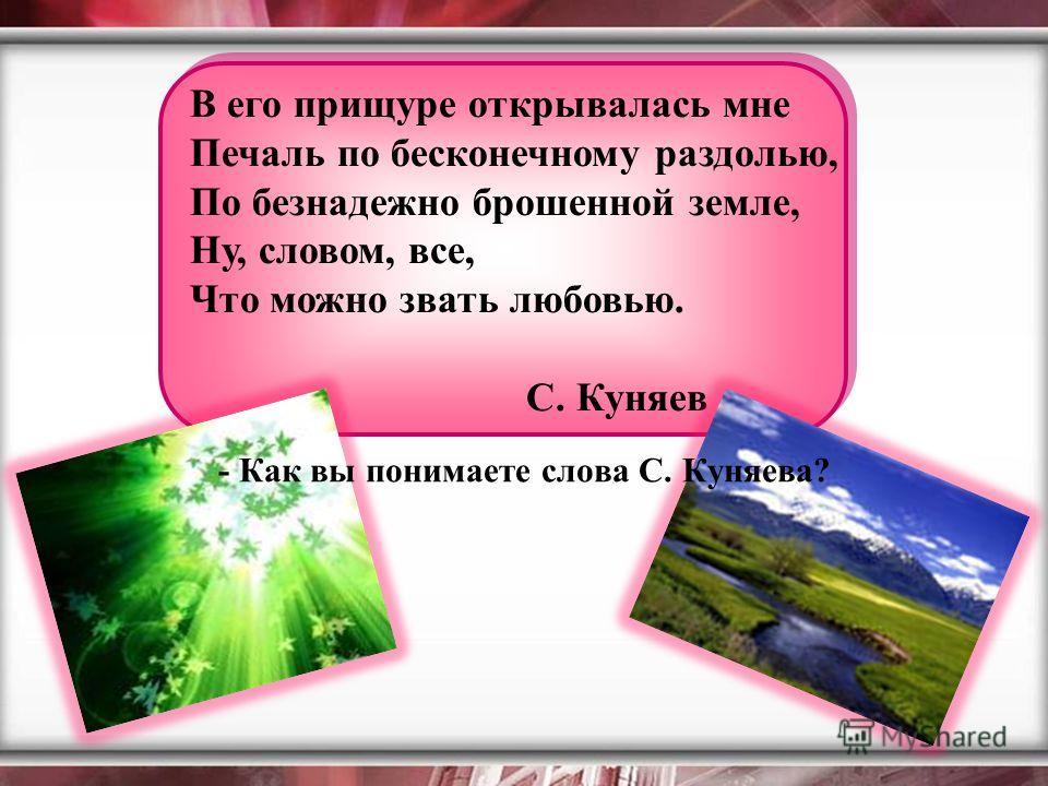 В его прищуре открывалась мне Печаль по бесконечному раздолью, По безнадежно брошенной земле, Ну, словом, все, Что можно звать любовью. С. Куняев - Как вы понимаете слова С. Куняева?