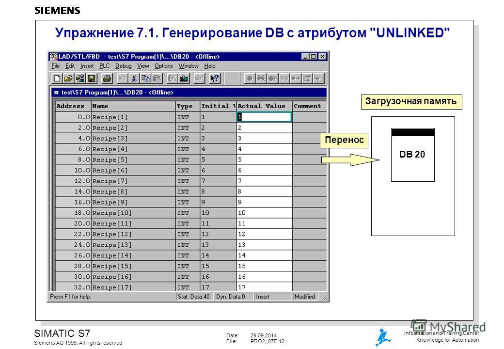 Date:29.09.2014 File:PRO2_07E.12 SIMATIC S7 Siemens AG 1999. All rights reserved. Information and Training Center Knowledge for Automation Упражнение 7.1. Генерирование DB с атрибутом UNLINKED Загрузочная память DB 20 Перенос